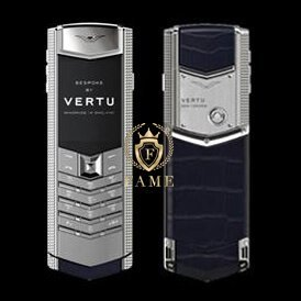 Vertu Signature ClousDeParis Silver Sapphire Key Navy Blue Leather