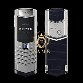Vertu Signature ClousDeParis Silver Sapphire Key Navy Blue Alligator