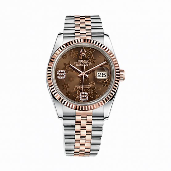 Rolex Oyster Perpetual Datejust 116231 Chocolate floral motif set with diamonds 36mm